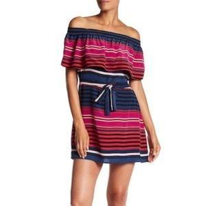 Joie arla silk off shoulder strip dress